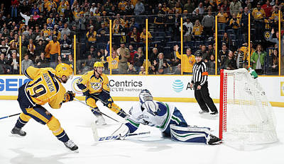 Photograph - Vancouver Canucks V Nashville Predators by John Russell