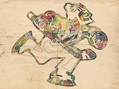 Hockey Painting - Vancouver Canucks Vintage Logo by Florian Rodarte