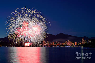 Photograph - Vancouver Celebration Of Light Fireworks 2014 - France 1 by Terry Elniski