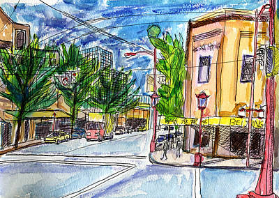 Vancouver Sketch Painting - Vancouver Chinatown 1 by Allen Forrest
