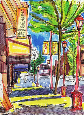 Vancouver Sketch Painting - Vancouver Chinatown 2 by Allen Forrest