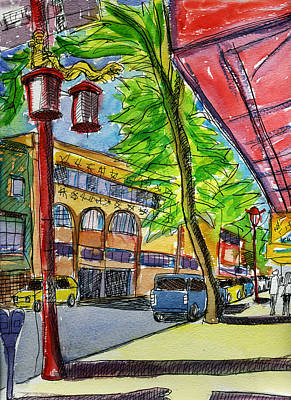 Vancouver Sketch Painting - Vancouver Chinatown 3 by Allen Forrest