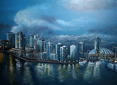 Boat Painting - Vancity Skyline by Stefan Kaertner