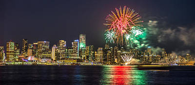 Photograph - Vancouver Fireworks Panorama by Pierre Leclerc Photography