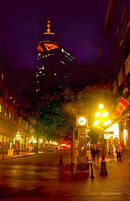 Vancouver Night Lights - Steam Clock In Gastown  Art Print