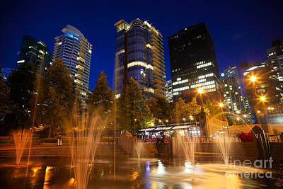 Vancouver At Night Photograph - Vancouver Night Time by Terry Elniski