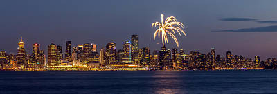 Photograph - Vancouver Panorama Fireworks by Pierre Leclerc Photography