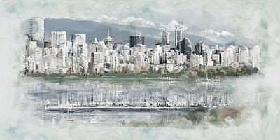 Banff Painting - Vancouver Skyline by Maryam Mughal