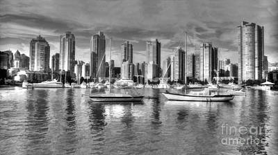 Watercolor Mobile Photograph - Vancouver Skyline by Mickey At Rawshutterbug