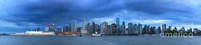 Vancouver Skyline Panoramic At Night Art Print