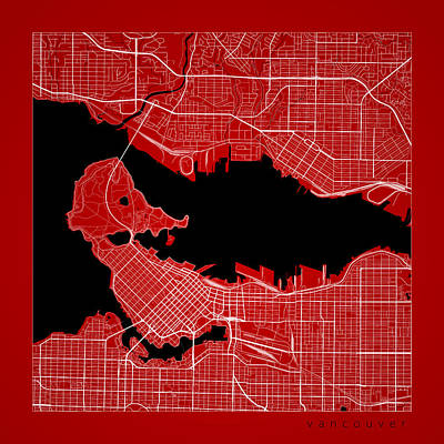 City Map Digital Art - Vancouver Street Map - Vancouver Canada Road Map Art On Color by Jurq Studio