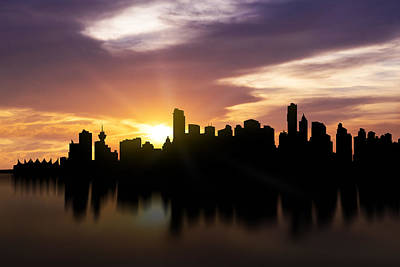 Vancouver Sunset Skyline  Art Print by Aged Pixel
