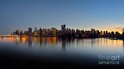 Photograph - Vancouver Sunset Skyline by Terry Elniski