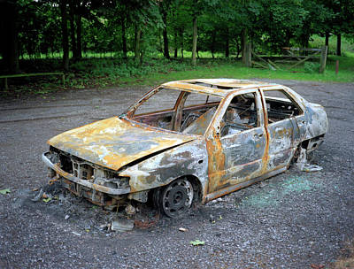 Cheshire Wall Art - Photograph - Vandalised Car by Robert Brook/science Photo Library