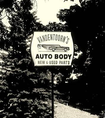 Photograph - Vandentoorns Auto Body New And Used Parts Sign by Rosemarie E Seppala