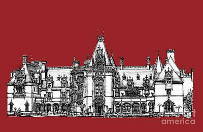 Chateau Drawing - Vanderbilt's Biltmore Estate In Red by Adendorff Design
