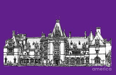 Asheville Drawing - Vanderbilt's Biltmore In Purple by Adendorff Design