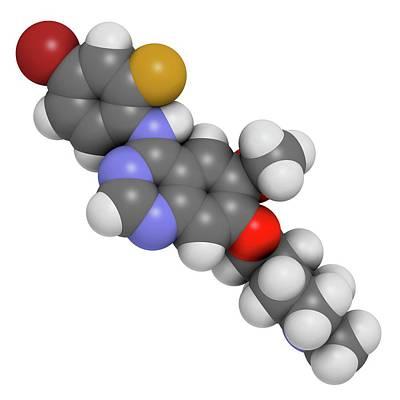 Vandetanib Cancer Drug Molecule Art Print by Molekuul