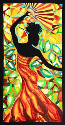 Mayan Painting - Vanessa Fan Dancer by Lee Vanderwalker