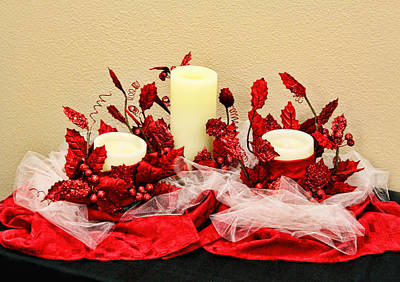 Netting Photograph - Vanilla Candle Display by Linda Phelps