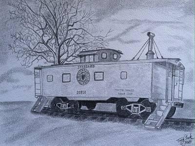 Caboose Drawing - Vanishing America by Tony Clark