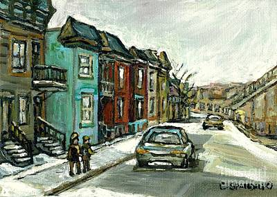 Of Verdun Montreal Winter Street Scenes Montreal Art Carole Painting - Vanishing Montreal Historical Paintings May Street Verdun Champlain Bridge Celebrate Montreal 375  by Carole Spandau