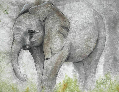 Vanishing Thunder Series-baby Elephant I Art Print