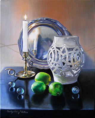 Painting - Vanitas Still Life By Candlelight With Limes 1 by Carolyn Coffey Wallace