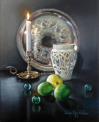 Painting - Vanitas Still Life By Candlelight  With Limes 2 by Carolyn Coffey Wallace
