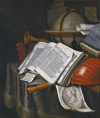 Lute Painting - Vanitas Still Life With An Upturned Lute by Celestial Images