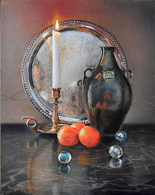 Painting - Vanitas Still Life By Candlelight With Clementines 1 by Carolyn Coffey Wallace