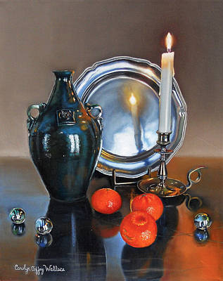 Painting - Vanitas Still Life With Candlelight 2 by Carolyn Coffey Wallace