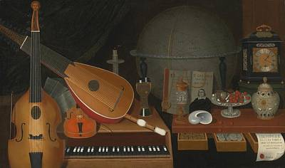 Globe Painting - Vanitas Still Life With Musical Instruments by Celestial Images