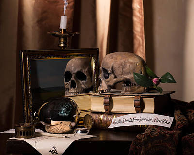 Photograph - Vanitas With Mirror-skull-writting Utensils And Snuffed Candle by Levin Rodriguez