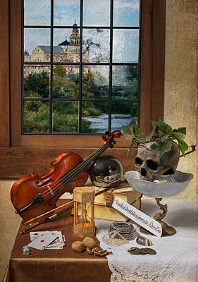 Vanitas With Music Instruments And Window Art Print