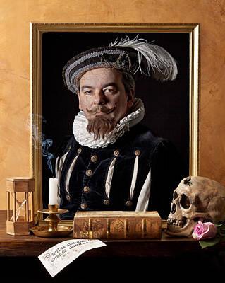 Vanitas With Painting-skull-hourglass Art Print