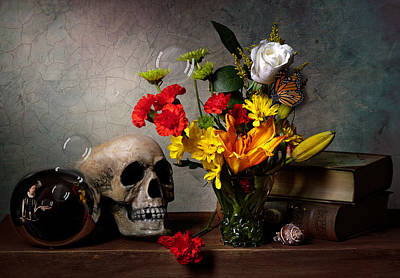 Photograph - Vanitas With Skull Mirror Ball And Flowers by Levin Rodriguez