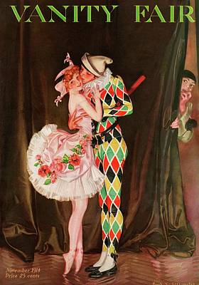 Curtains Photograph - Vanity Fair Cover Featuring A Harlequin by Frank X. Leyendecker