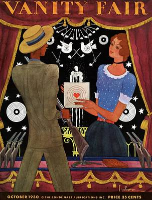 Amusement Park Photograph - Vanity Fair Cover Featuring A Man And Woman by Georges Lepape