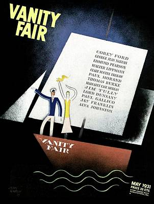 Vanity Fair Cover Featuring A Man And Woman Print by Jean Carlu