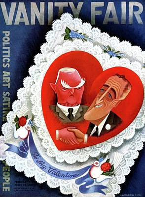 Caricature Portraits Photograph - Vanity Fair Cover Featuring A Valentine by Miguel Covarrubias