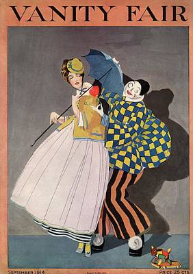 Vanity Fair Cover Featuring A Woman And A Clown Print by  Rabajoi