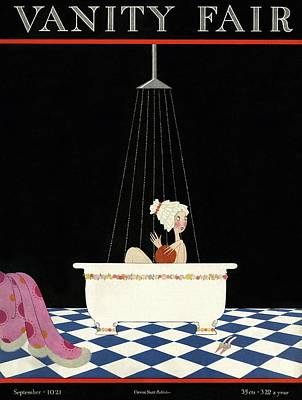 Vanity Fair Cover Featuring A Woman In A Bathtub Art Print