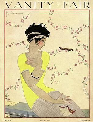 Vanity Fair Cover Featuring A Woman Watching Print by Georges Lepape
