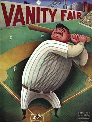 Vanity Fair Cover Featuring Babe Ruth Art Print by Miguel Covarrubias