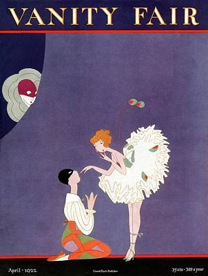 Vanity Fair Cover Featuring Dancers Flirting Art Print by A. H. Fish