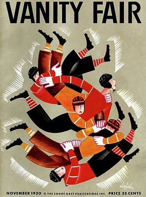 Vanity Fair Cover Featuring Football Players Print by Constantin Alajalov
