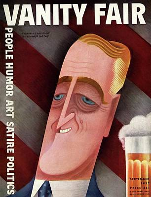 President Photograph - Vanity Fair Cover Featuring Franklin D. Roosevelt by Miguel Covarrubias