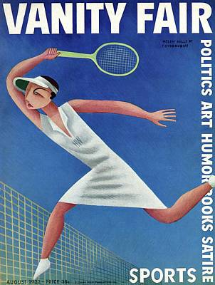 August Photograph - Vanity Fair Cover Featuring Helen Wills Playing by Miguel Covarrubias
