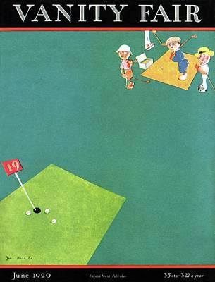 Vanity Fair Cover Featuring Men Playing Golf Art Print by John Held Jr